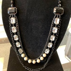 Long Layered Statement Necklace Vintage Finish